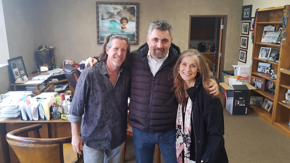 Gianluca De Col with Kevin Wachs and Sandy Arias at Heartly Body HQ in California
